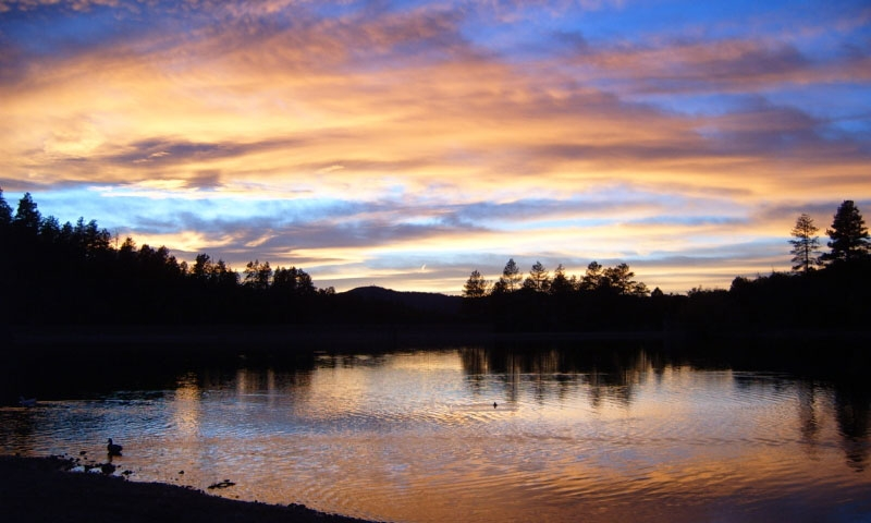 Sunrise over Goldwater Lake in Prescott Arizona